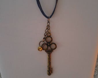 Key and Bell Pendant Necklace