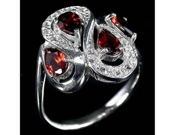 SOLID 925 Sterling Silver RING Bright Red Mozambique Garnet Pear Real Gemstones 14K White Gold Plated US size 8.25 Russian Ukrainian sz 18.5