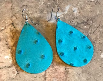 Leather Earring, Turquoise, alligator print