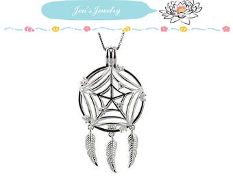 Fine 925 Sterling Silver Pearl Cage Pendant DREAM CATCHER for Akoya Pearl Oyster Locket