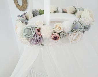 Grey Nursery Decor, Crib Canopy, Baby Shower, Girl Bedroom, Nursery Decor, Baby Shower Gift, Floral Canopy, Reading Nook, Floral Gift