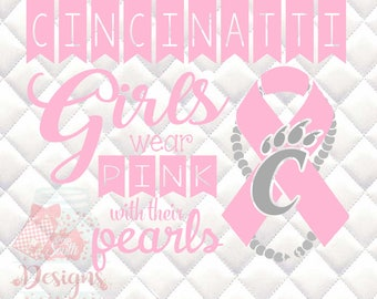 Cincinatti Bearcats Pink and Pearls - Breast Cancer Awareness - SVG, Silhouette studio and png bundle