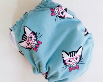 Ai2 Cloth diapers, All in Two Cloth Diapers, Ready to Ship, Geeky Kitty, Bamboo Cloth Diapers, One Size, Aio Cloth Diapersl