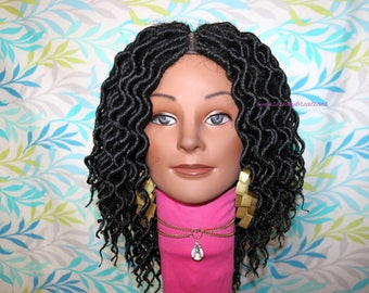 "READY TO SHIP  //Synthetic crochet wig "" Loc n Curl 10 inch"""