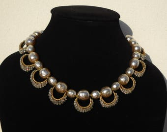 1940 Miriam Haskell Vintage Jewelry - Champagne Pearls Necklace