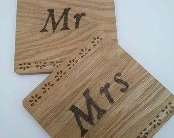 Mr & Mrs drinks coasters, wedding gift, set of coasters, drinks coasters