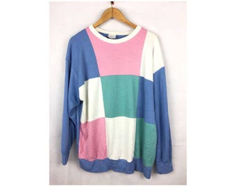 AILEEN TOO Long Sleeve Sweatshirt Long Sleeve Shirt Large Size Colour Block Made in USA