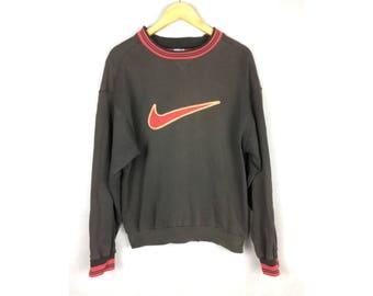 NIKE Long Sleeve Sweatshirt With Big Logo Medium Size Vintage Sweatshirt Made in Singapore