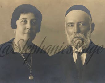 1927 | Real Photo Postcard | Jewish Couple Portrait | vintage sepia photograph