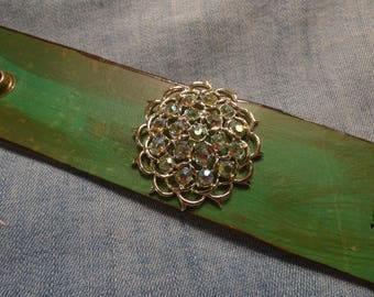 WG248 Leather Cuff with Vintage Sarah Coventry Aurora Borealis Brooch