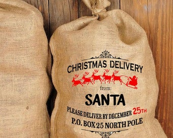 Personalized Santa Sack/Bag Gift Sack Christmas Holiday Gift Sack,Santa Special Delivery Xmas Sack Personalized Gift Sack North Pole