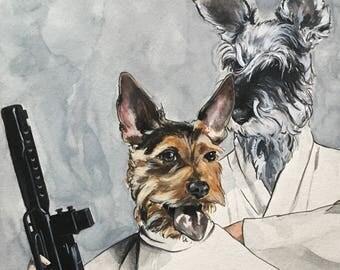 Dog Character Painting-Dog Portraits-Custom Watercolor Pet Portrait-Unique Gift-Pet Portrait-Star Wars