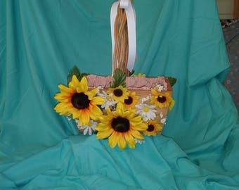 Rustic wooden flower girl Basket - Sunflowers
