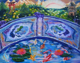 "Koi fish original Oil painting ""Koi"" art print 9x12, wall art, japanese garden, japan, landscape print, impressionist art, nature"
