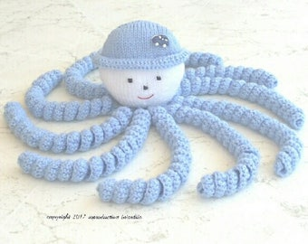 Octopus Dusti toy for easy to hold virtue soothing blue button stickers