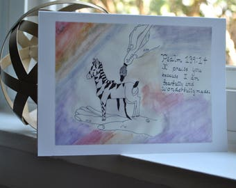 Beautiful {blank} Watercolor Greeting Card made by 8 year-old artist: Zebra