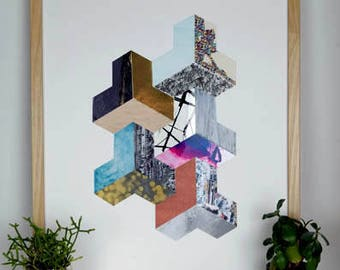 3D Geometric Collage Original