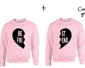 Best Friends Heart  Couple Sweater Rosa- best friends sweatshirt, friend couple sweater, best frind shirt, best friend tee, friend gift,