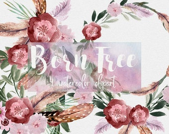 Boho clipart, floral clipart,feathers clipart,flowers clipart,watercolor clipart,wedding clipart, logo clipart, wedding diy,bohemian clipart