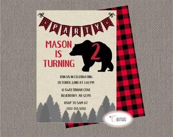 Buffalo Plaid Lumberjack Birthday Party Invitation; Custom Age and Information