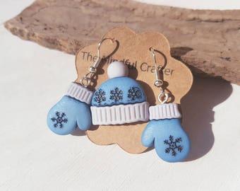 Winter glove earrings & wooly hat brooch set winter jewellery glove earrings hat pin Christmas earrings Christmas Jewelry winter jewellery