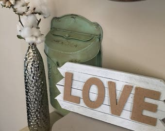 White Rustic Tobacco Stick Wood Sign - Love Burlap Letters