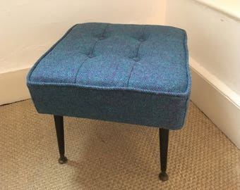 Harris Tweed Mid Century Footstool