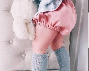 Blush pink linen bloomers