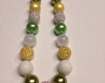 Chunky bead necklace tiana tink yellow green white