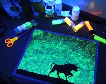 "Original Glow in the dark painting ""Virile Bull"", Bull Silhouette Painting, 12x16"" Turquoise shade bull painting"