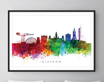 Glasgow Skyline, Cityscape Art Print, Wall Art, Watercolor, Watercolour Art Decor [SWGLA01]