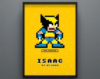 Wolverine Poster, X-Men Superhero Poster, Personalised, Kids Poster, Wall Print, Art Decor, Kids Name