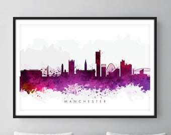 Manchester Skyline, Manchester England Cityscape England, Art Print, Wall Art, Watercolor, Watercolour Art Decor [SWMAN08]