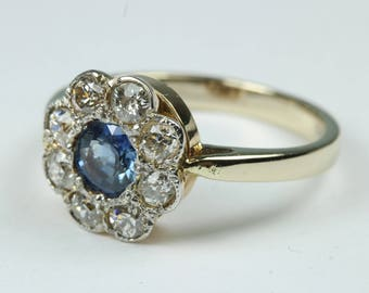 Vintage Edwardian 18ct Yellow Gold Sapphire and Diamond Daisy Cluster Ring Size: O-7