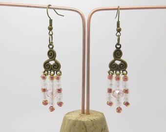 Earrings clip or pierced bronze beads engraving pink glass, wedding idea