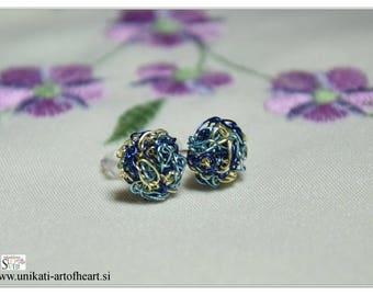 Crochet Earrings / Wire Earrings / Stud Earrings / Small Earrings / Multicolor Earrings / Lightweight Earrings / Unique Earrings / Wire stud