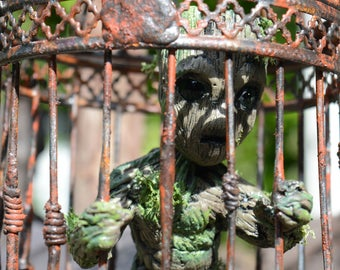 OOAK small hand made Little Groot in a cage inspired  by GoTG