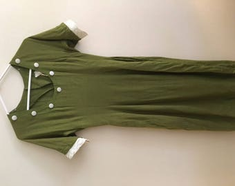1950s Green Linen Dress