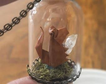 Squirrel Origami Necklace-Gemstone Terrarium Necklace-Raw Terrarium Pendant -Origami Paper Squirrel-Glass Bottle-Anniversary Gift