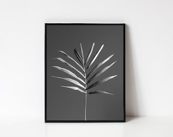 Photography Wall Art, Black and White Photography, Nature Photography, Minimalist Photography, Leaves, Plant Photography, INSTANT DOWNLOAD