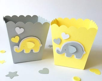 Gray Yellow Popcorn Candy Favor Boxes Elephant Baby Shower Decor Boy Girl 1 st Birthday Party Candy Buffet Table Dessert Bar Supply