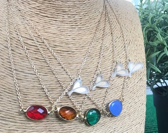 Necklaces of crystals gems