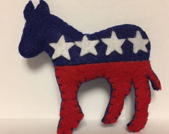 Democrat donkey felt ornament * Cute & Collectible * Patriotic * Christmas / Birthday gift