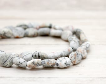 Matte Gray Crazy Lace Jasper Flat Oval Gemstone Beads