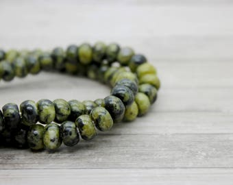 "Yellow Jade Rondelle Gemstone Beads 8"" strand (5mm x 8mm beads, 2.5 mm hole)"