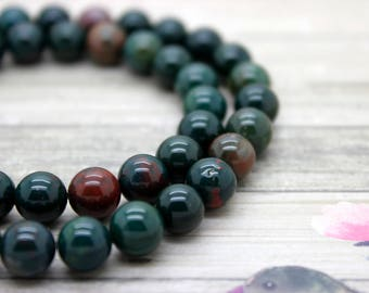 Blood Stone Bloodstone Round Beads Gemstone Natural Stone (6mm 8mm 10mm)
