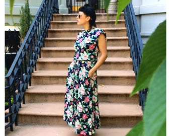 """90's """"grunge-style"""" floral maxi-dress"""