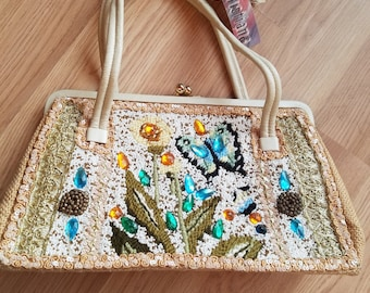 Vintage Hand-Beaded Christiana Butterfly Purse