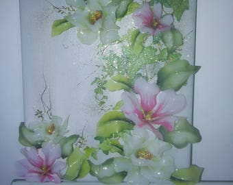 Canvas with 3D pink and white flowers