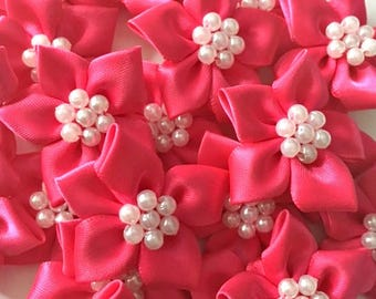 5 Cerise Pink Satin Ribbon Poinsettia Flowers 4cm  - Card Making Embellishments Craft Sewing